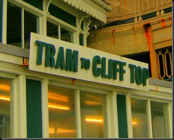 tram to cliff top sign